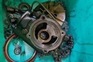 Bomba de aceite lista para inspección.